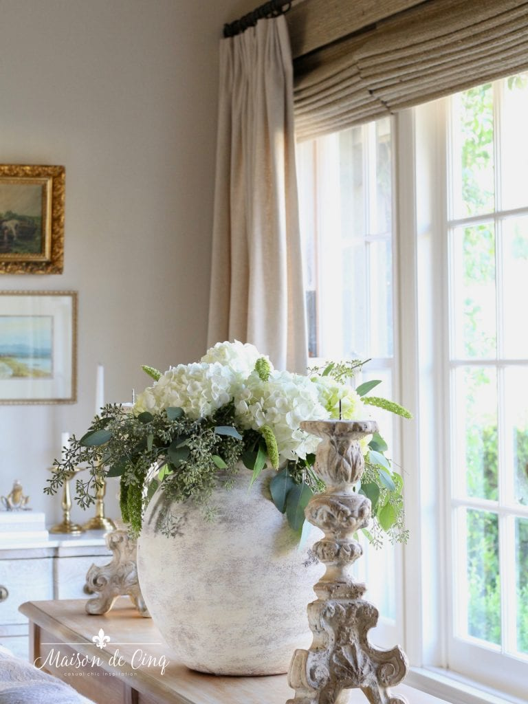 gorgeous white hydrangeas in vase in French country living room neutral decor