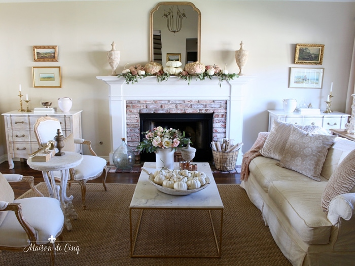 French farmhouse living room pink and white fall decor soft autumn decorating