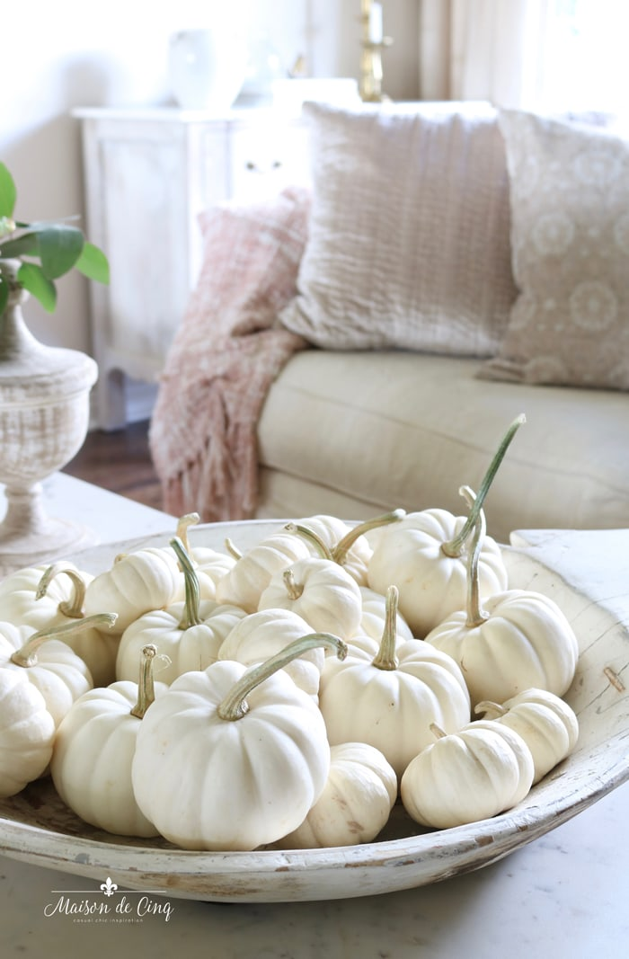 white baby boo pumpkins in vintage white chippy bowl French farmhouse fall decorating