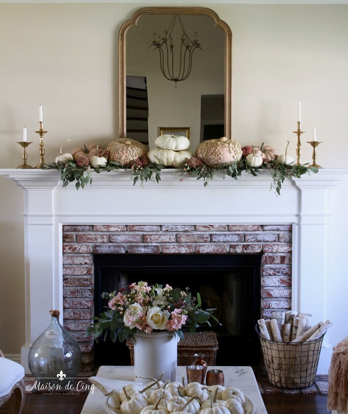 fall living room mantel with pink and white pumpkins French farmhouse style