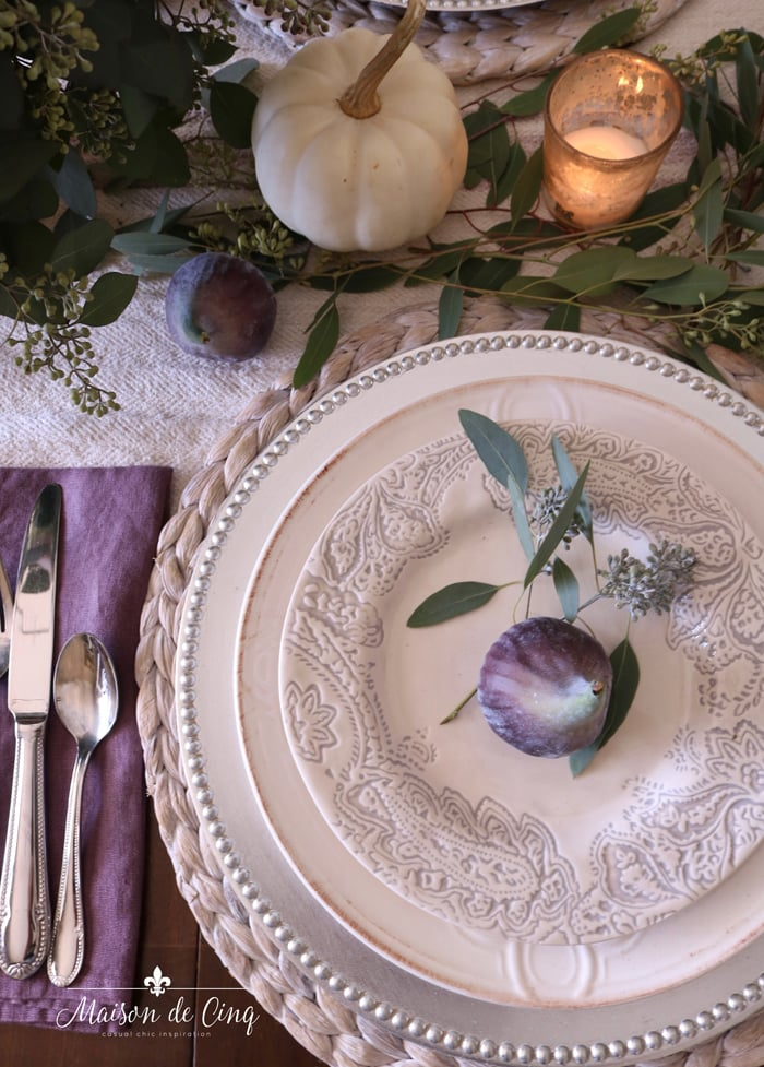 stunning plum colored fall Thanksgiving tablescape with figs and pumpkins