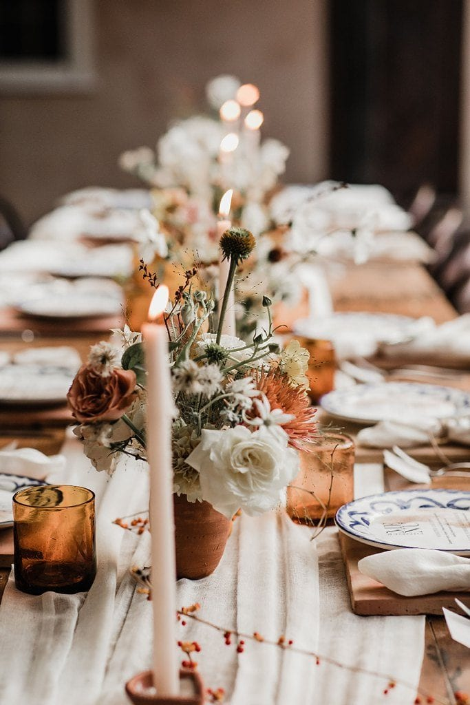 fall table in cream and amber