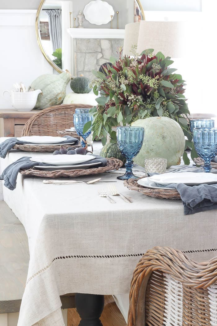 fall tablescape with in blue and green