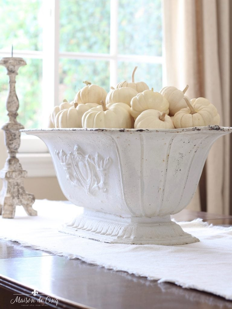 white pumpkins in stunning French white urn French country style neutral fall decor