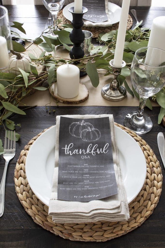 Thanksgiving table in black and white with Thankful questions