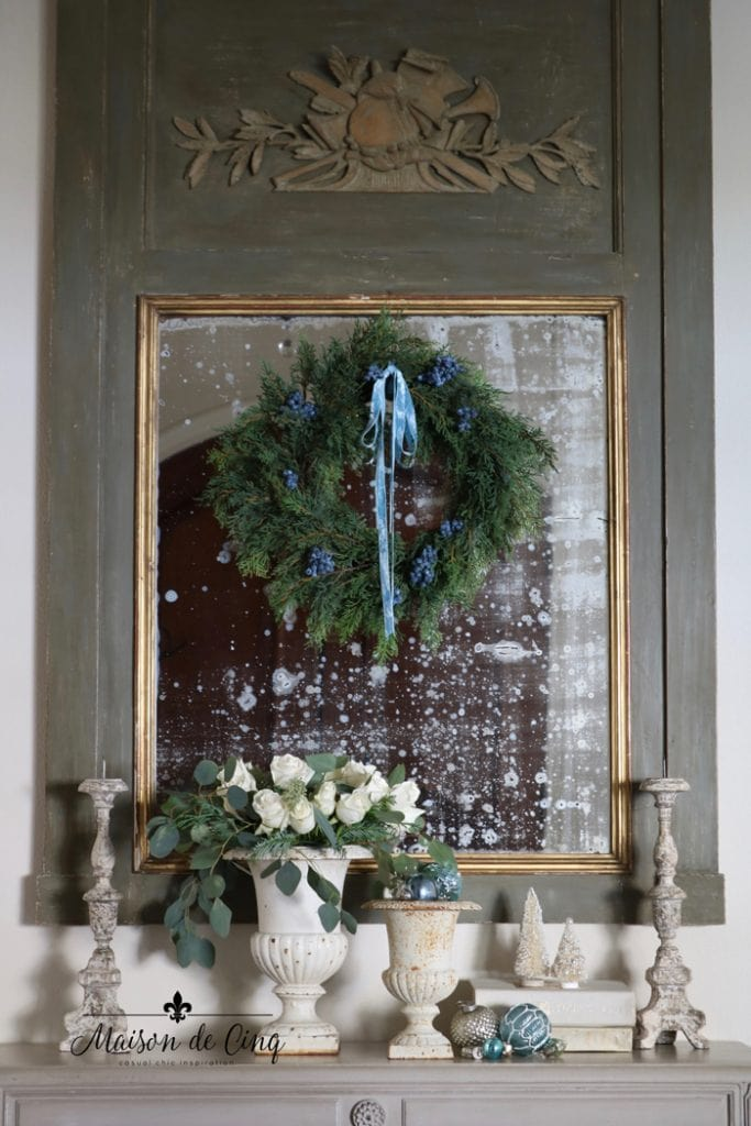 wreath on gorgeous French Country trumeau mirror holiday decorating ideas