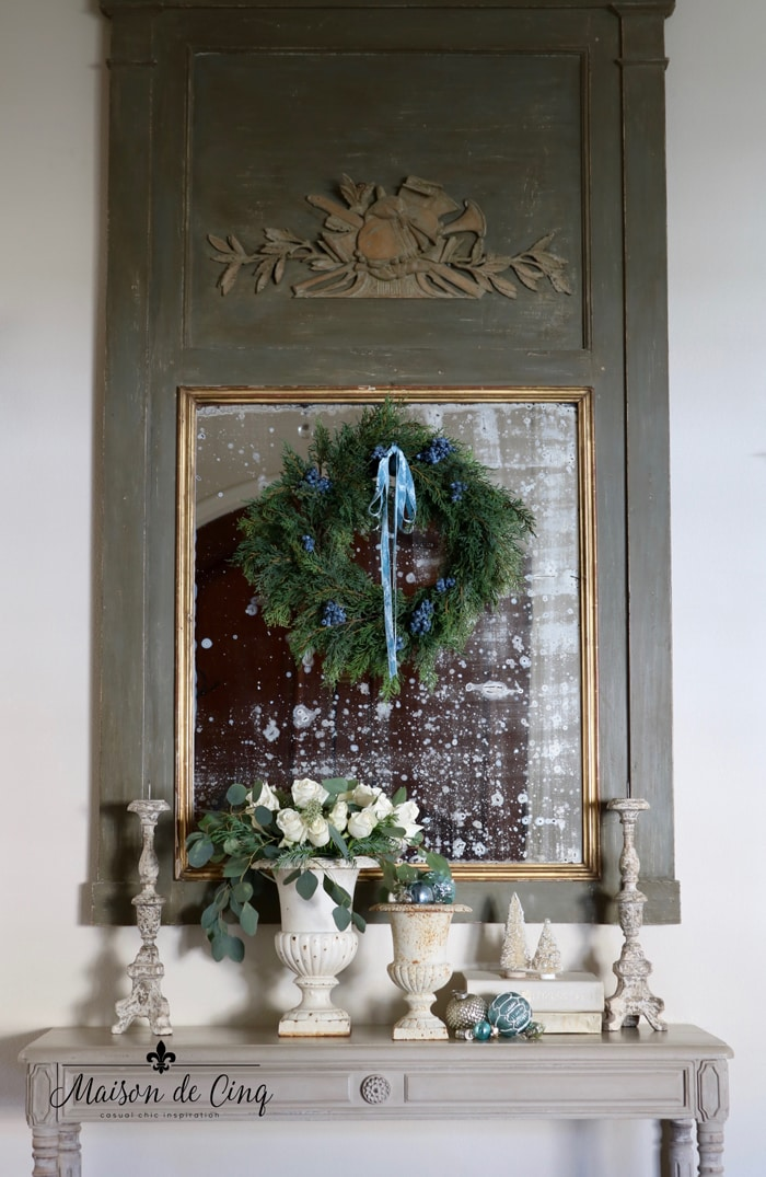 holiday entry way blue christmas decor trumeau mirror french inspired decor