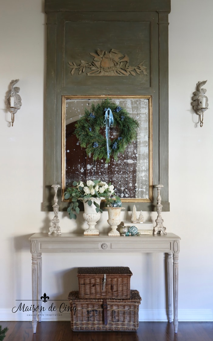 French country holiday entry way blue Christmas decor
