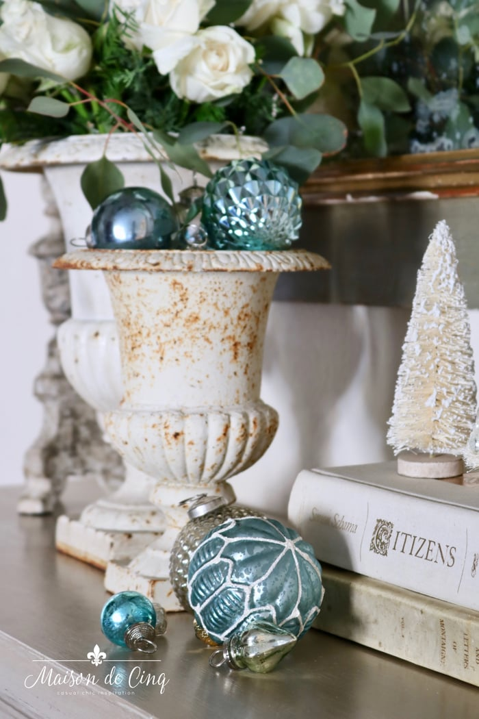 French blue holiday decor with chippy urn and ornaments gorgeous Christmas decorating ideas