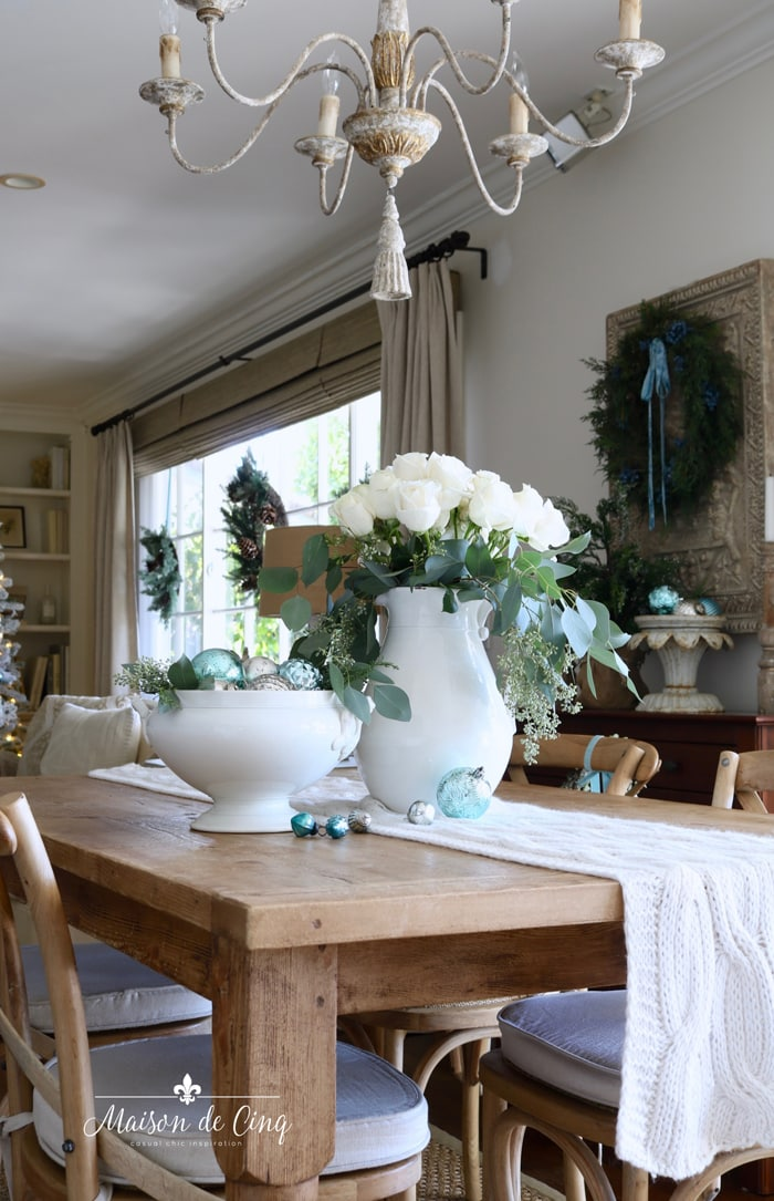 French farmhouse holiday decor dining table with roses and ornaments in French country room