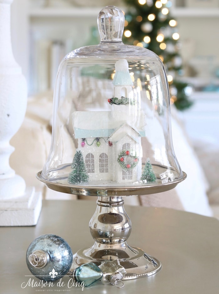 blue putz paper house on silver pedestal stand Christmas decorating