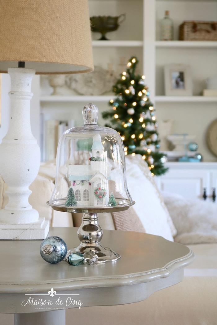 gorgeous neutral family room with pretty blue Christmas decor