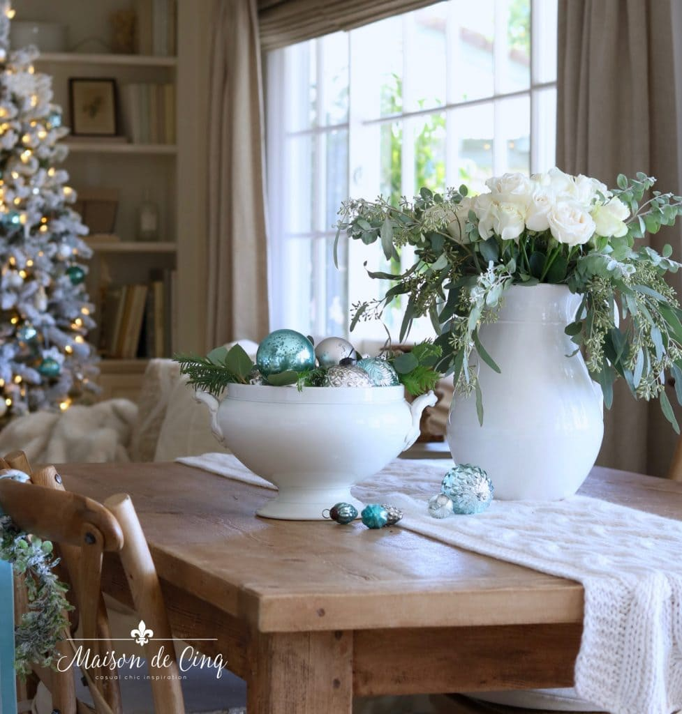 pretty blue ornaments in French ironstone tureen with white roses holiday decorating ideas