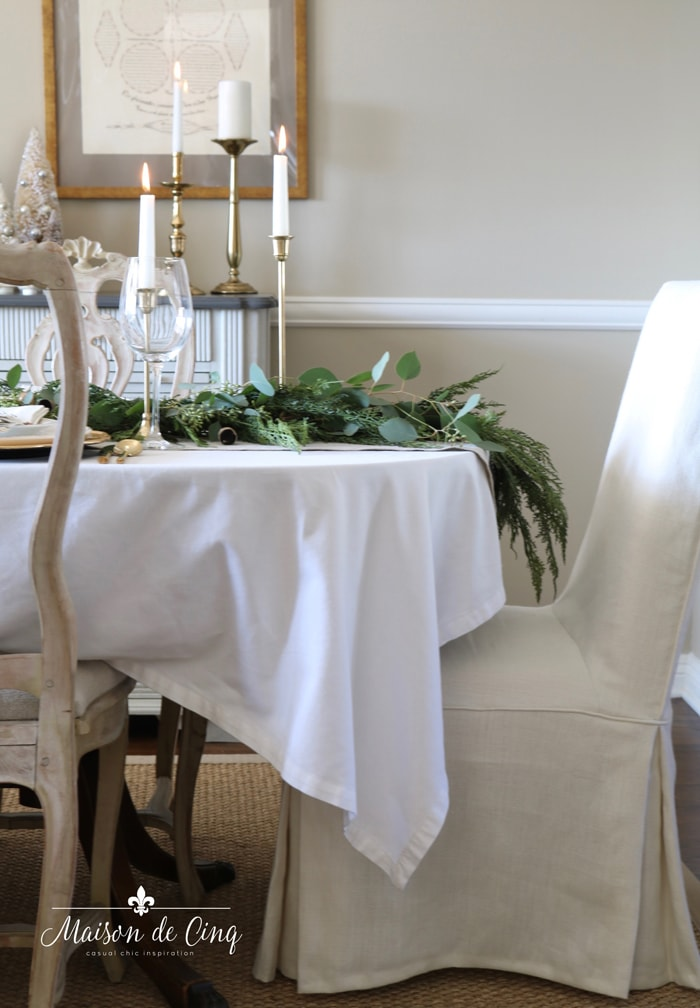 pretty Christmas table in gorgeous French Country style dining room