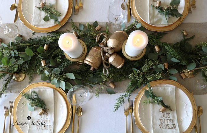 Holiday Table Setting with Cedar, Eucalyptus and Brass Bells