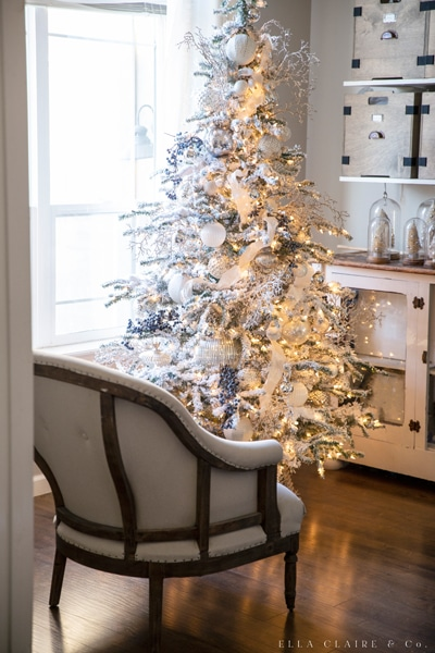 farmhouse christmas blue silver tree