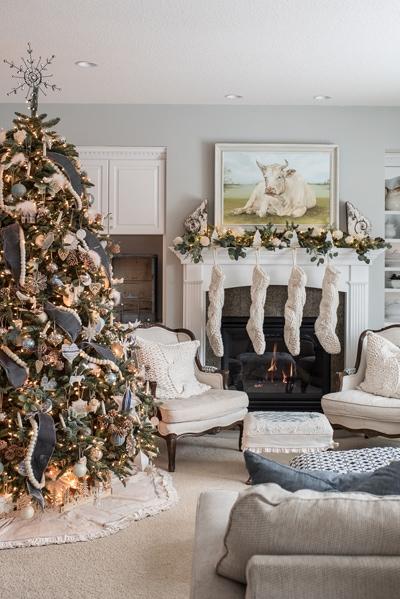 Miss Mustard Seed farmhouse Christmas living room