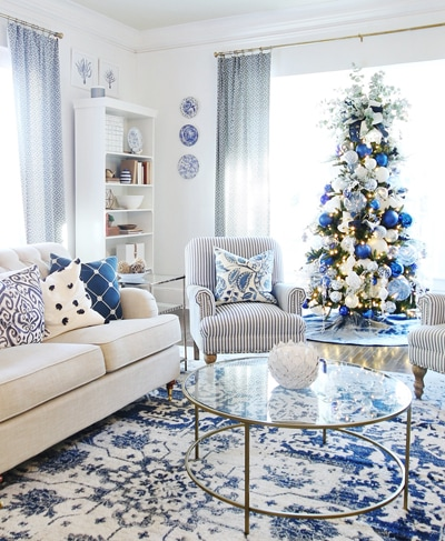 blue and white farmhouse christmas living room