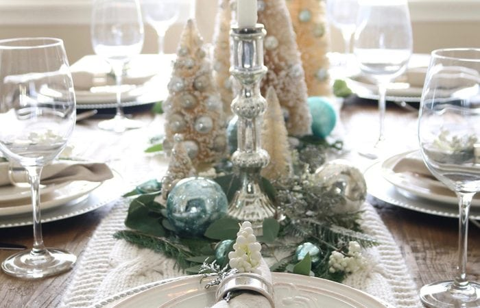 Soft and Wintery Christmas Table with Touches of French Blue