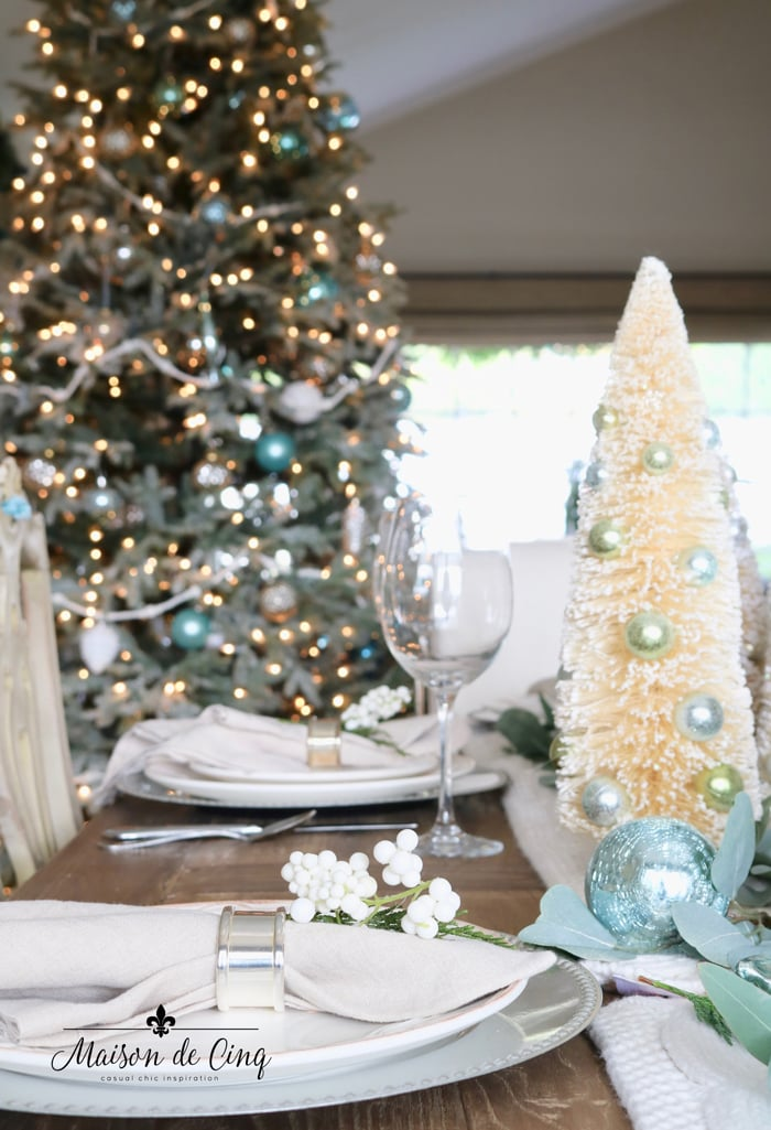 French country dining room Christmas tree decorated in blue and white holiday table decor