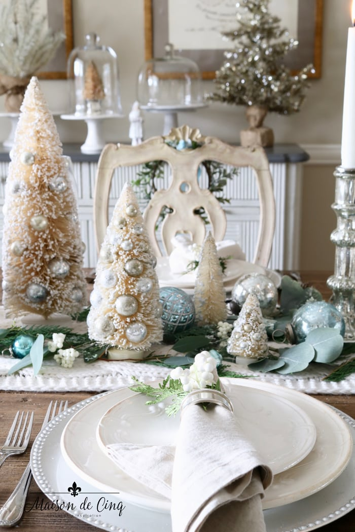 gorgeous blue and white Christmas holiday table in French Country dining room