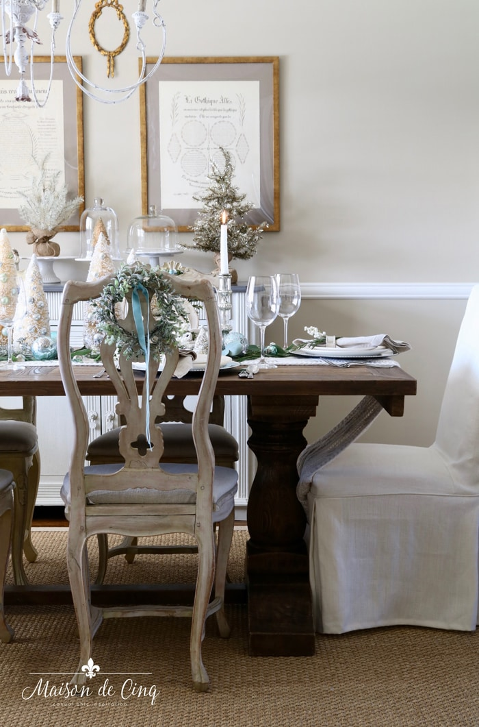gorgeous French country dining room with Christmas table setting tablescape ideas blue and white