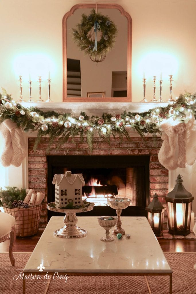 gorgeous French country living room with holiday decor garland wreath
