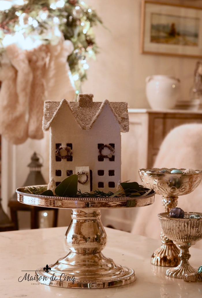 white putz paper mache house christmas holiday decor ideas