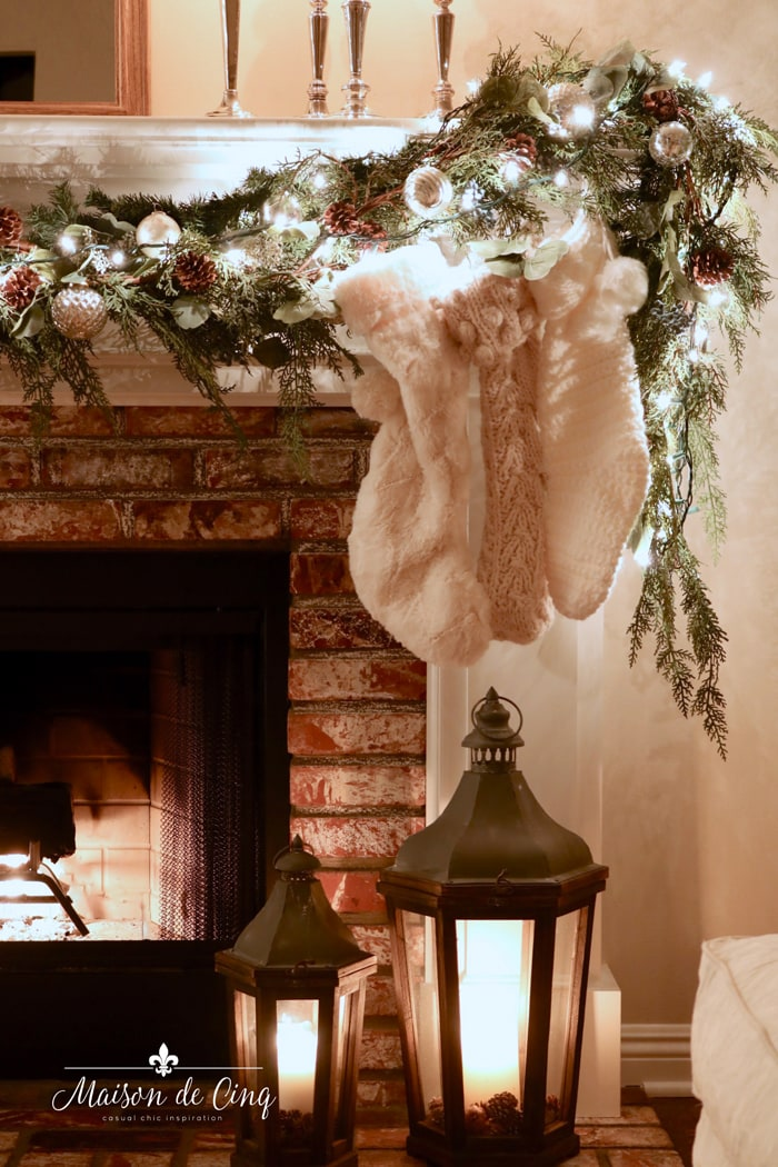 garland on mantel christmas decor holiday decorating