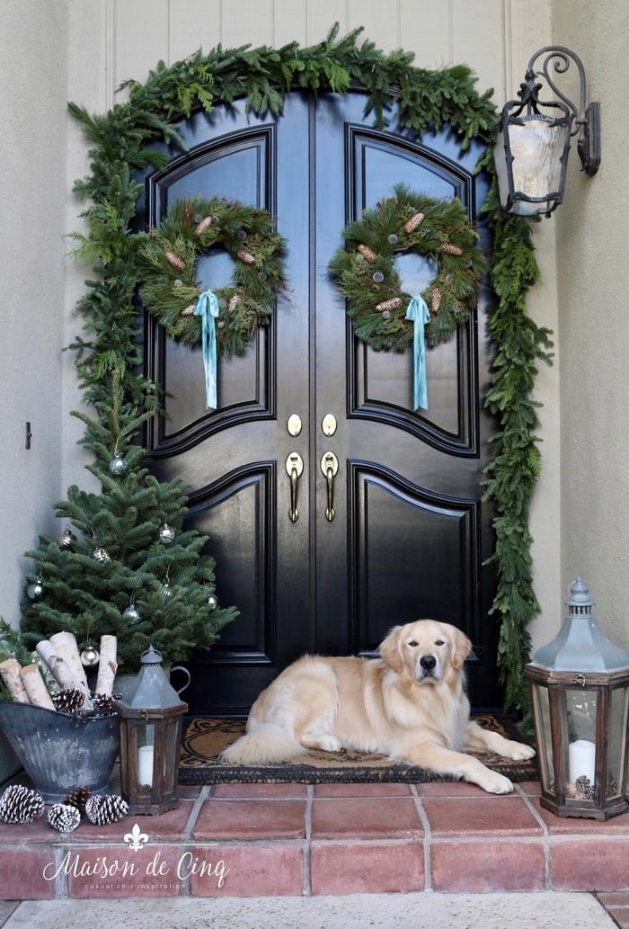 gorgeous French country doors with wreaths and Golden Retriever holiday decorating