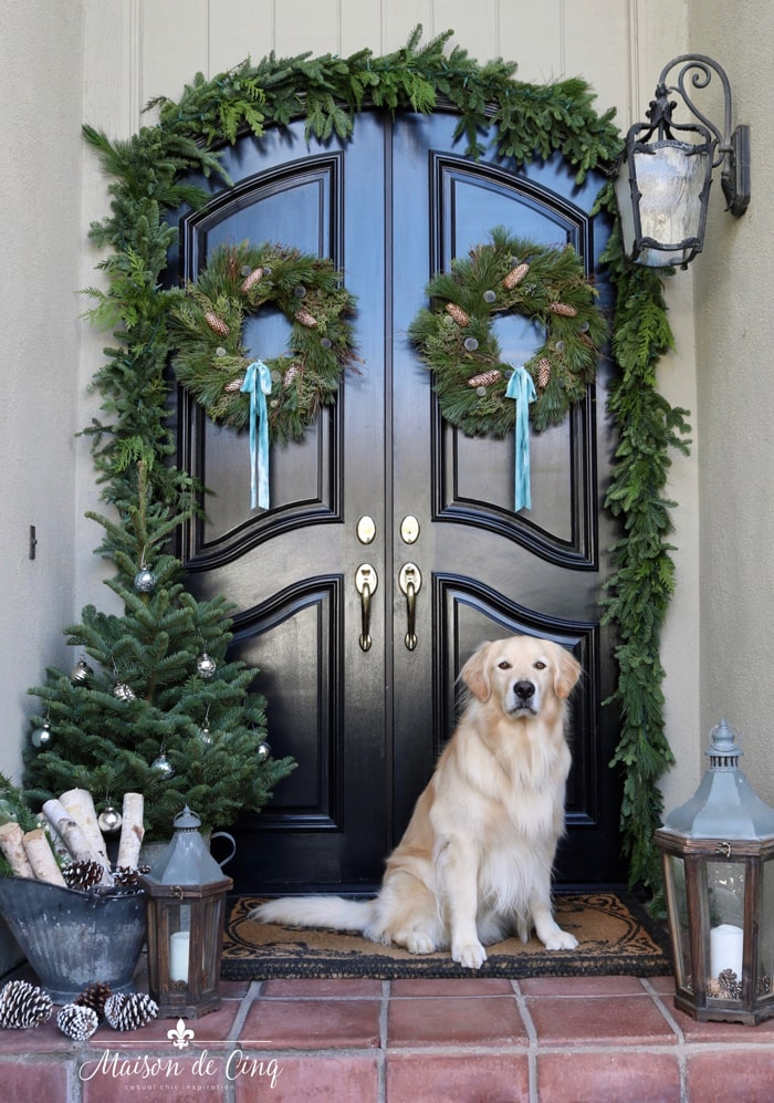holiday porch decor wreaths garland touches of blue and Golden Retriever gorgeous French country style