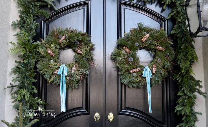 Holiday Porch Decorated with Greens & a Touch of Blue