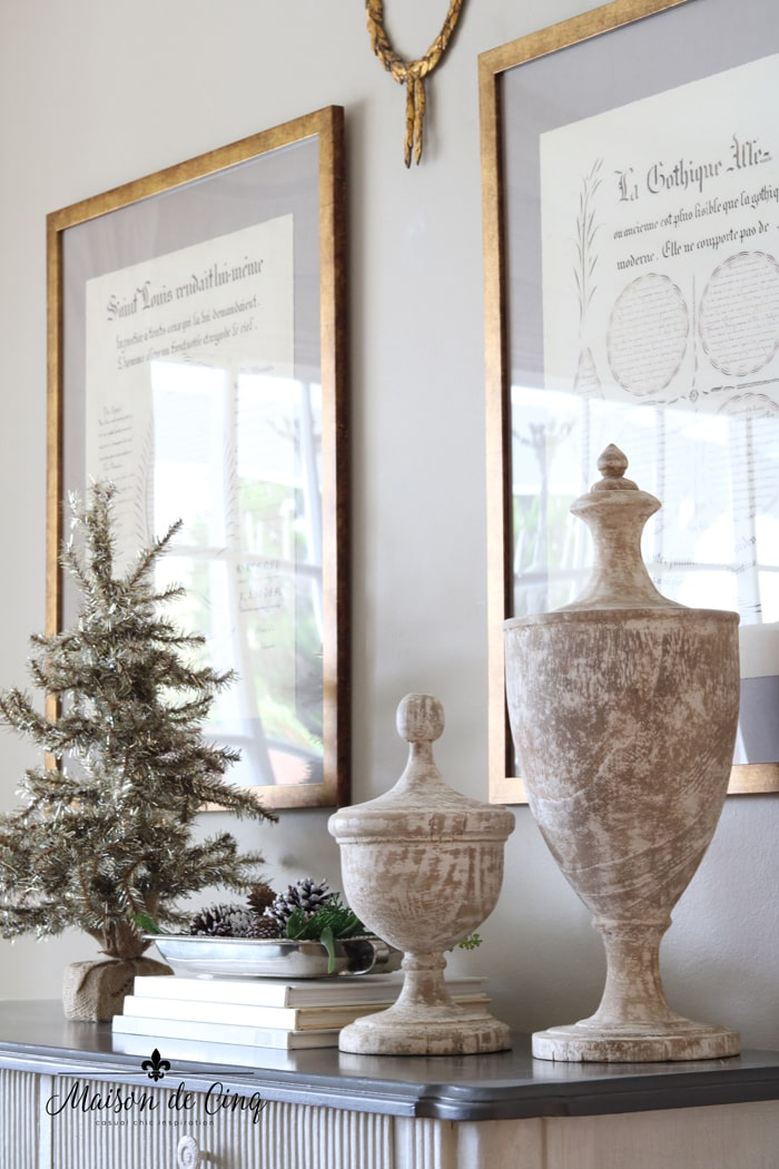 Christmas dining room decor urns and tinsel tree holiday decorating