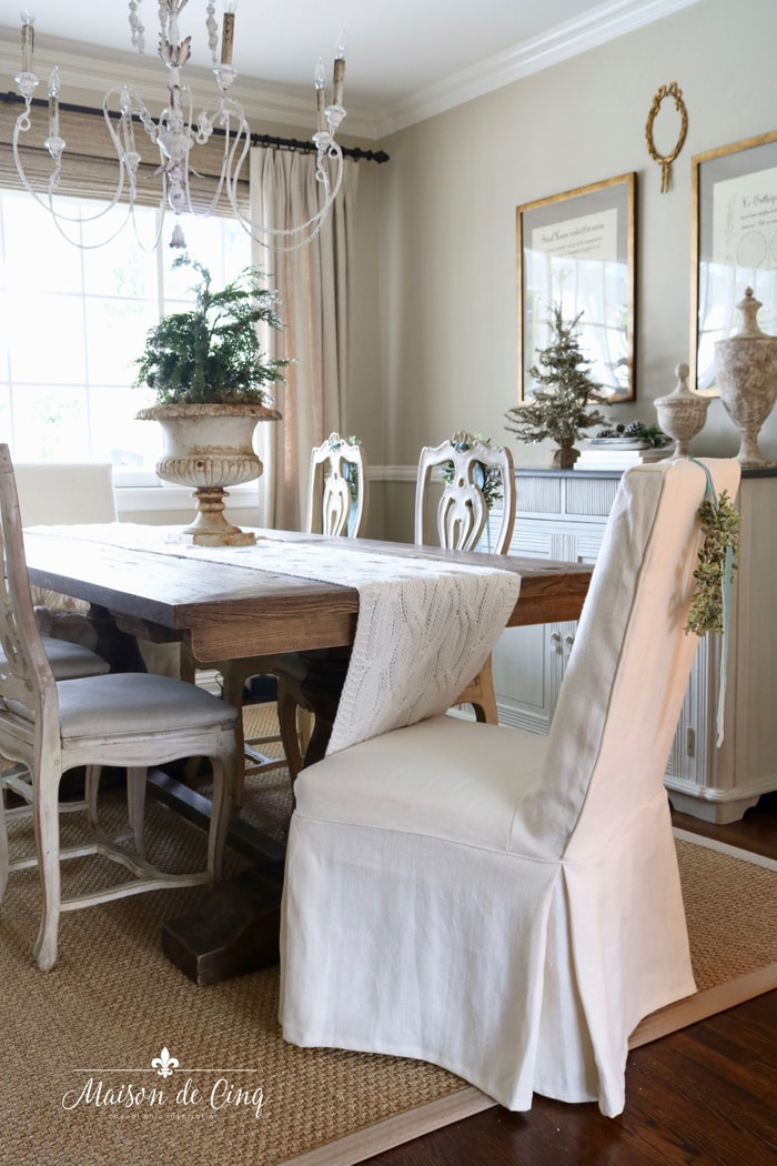 gorgeous French country dining room with Christmas decor holiday decorating