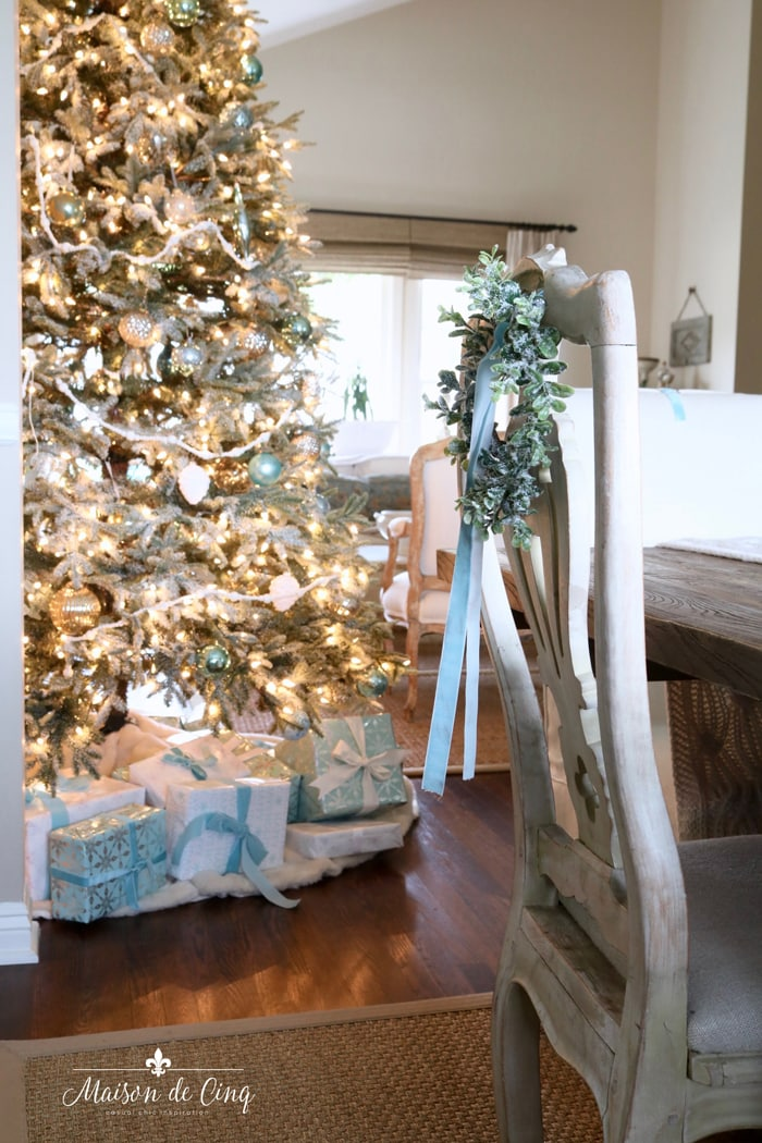 Christmas tree blue Christmas decor French country dining room