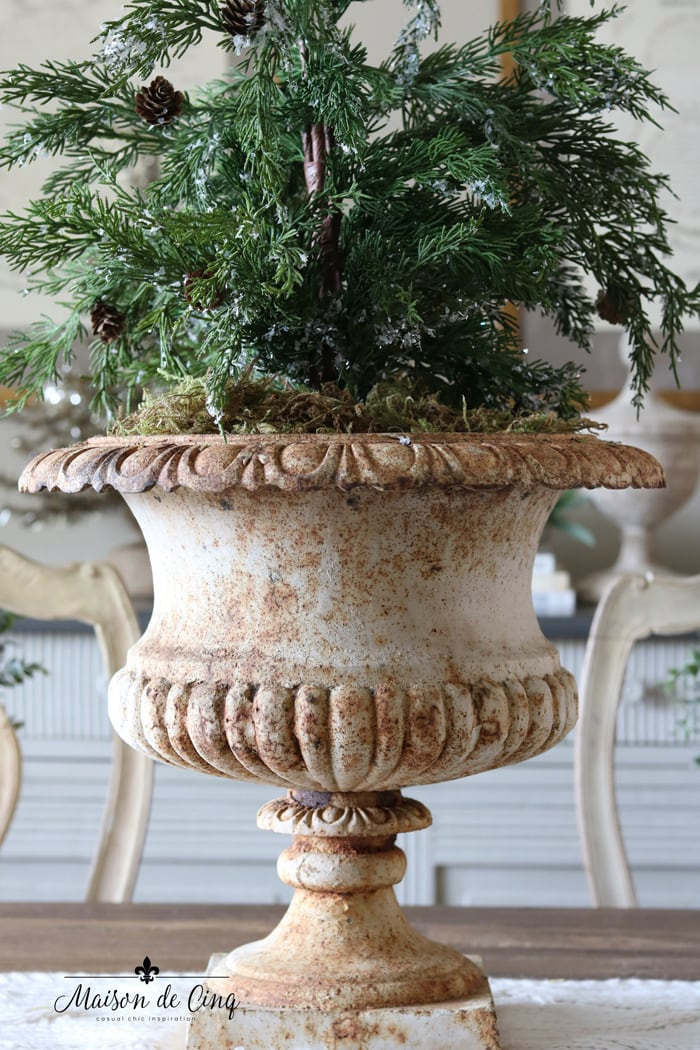 gorgeous French urn with faux Christmas tree holiday decor ideas