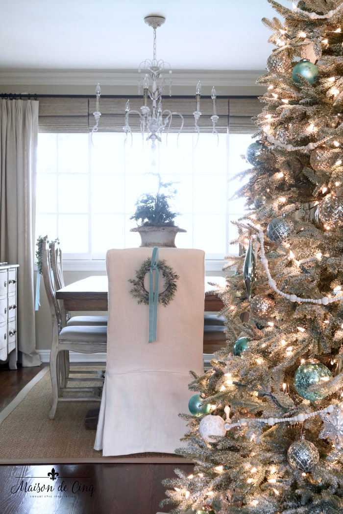 French inspired romantic Christmas dining room blue decor