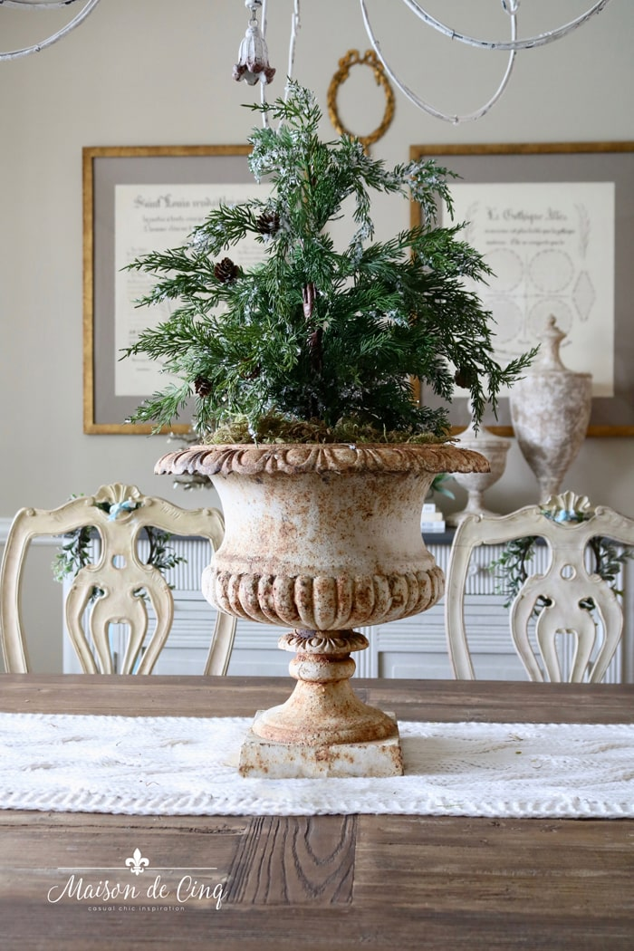 gorgeous antique French urn with tree Christmas holiday decor ideas