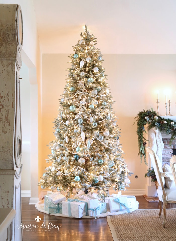 French inspired Christmas tour tree in white and silver with touches of soft blue
