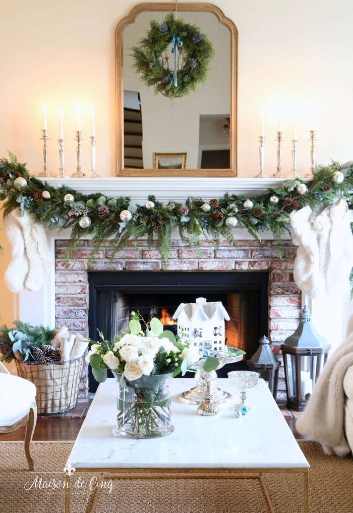 gorgeous Christmas mantel decor in French country living room