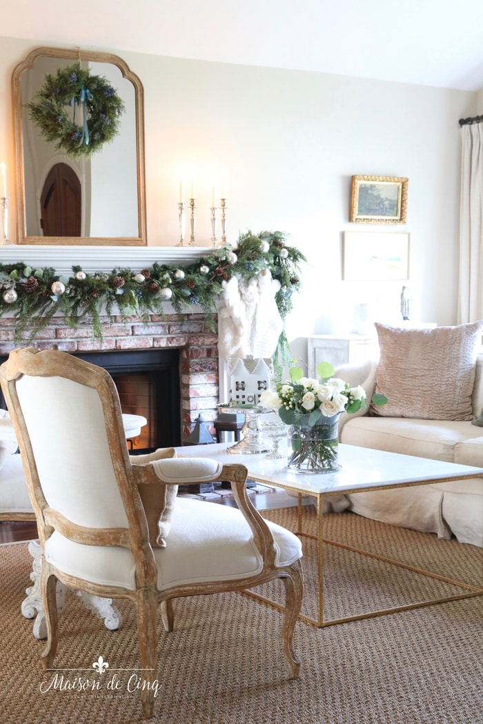 gorgeous French inspired Christmas tour holiday decor mantel garland and wreath