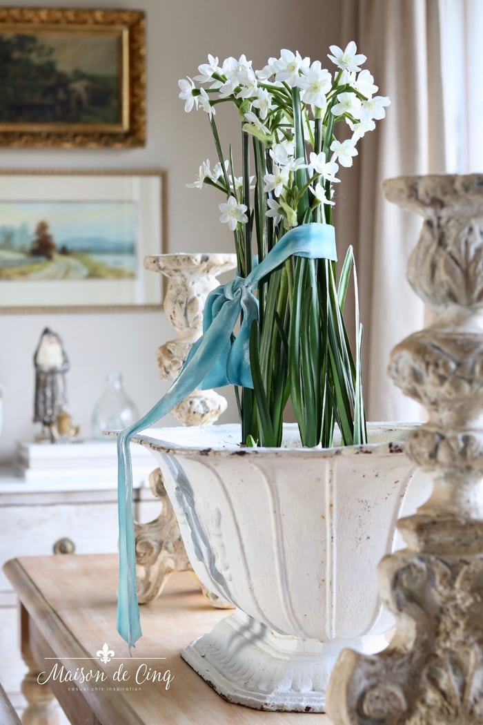French inspired Christmas tour gorgeous holiday decor paperwhites in vintage urn