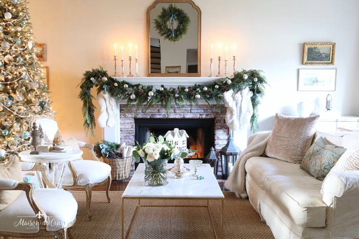 French inspired Christmas living room French country style gorgeous holiday decor