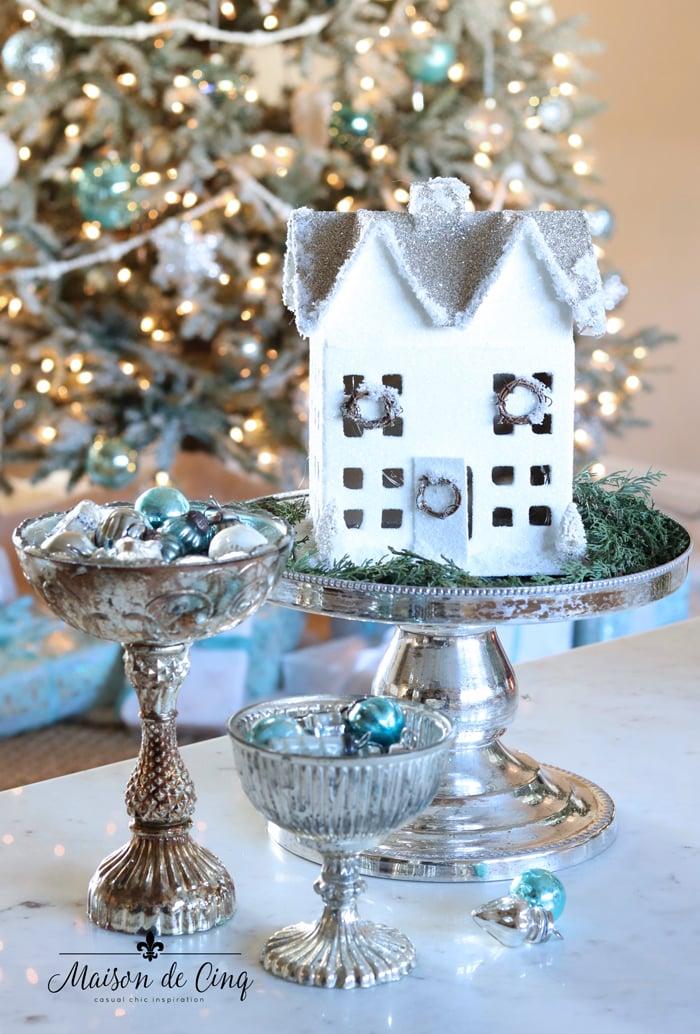 white Christmas paper house putz vintage holiday decor blue ornaments