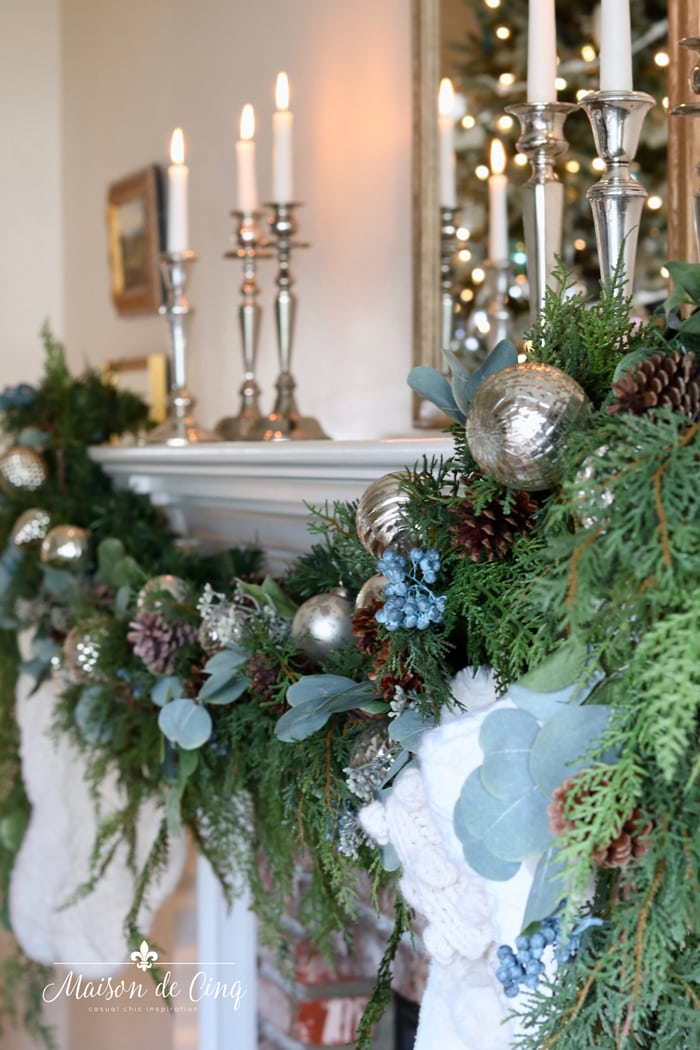 mantel Christmas garland silver candle sticks gorgeous holiday decor
