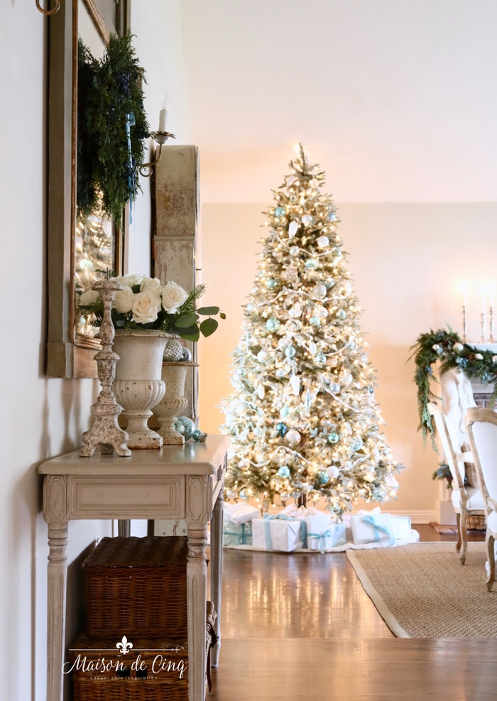 French inspired Christmas living room gorgeous French blue tree