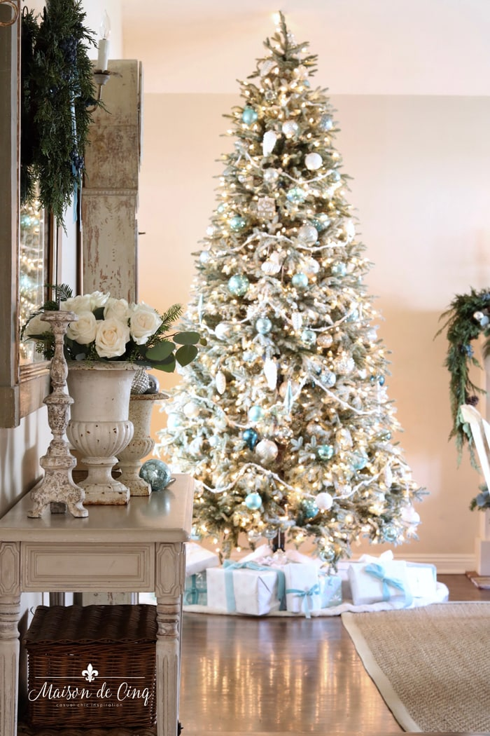 gorgeous French farmhouse Christmas living room