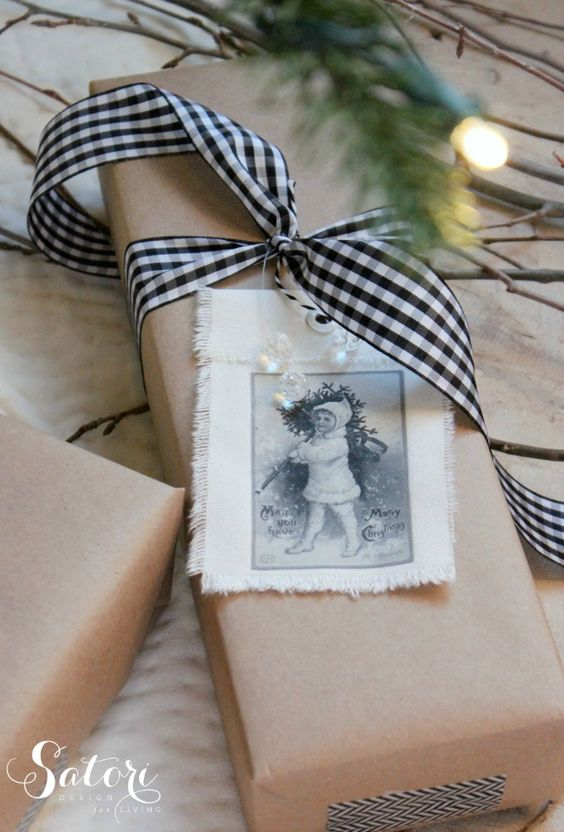 holiday gift wrapping ideas craft paper with gingham ribbon