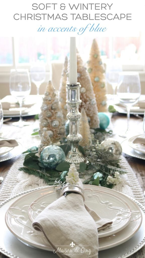 soft and wintery Christmas table setting with accents of blue