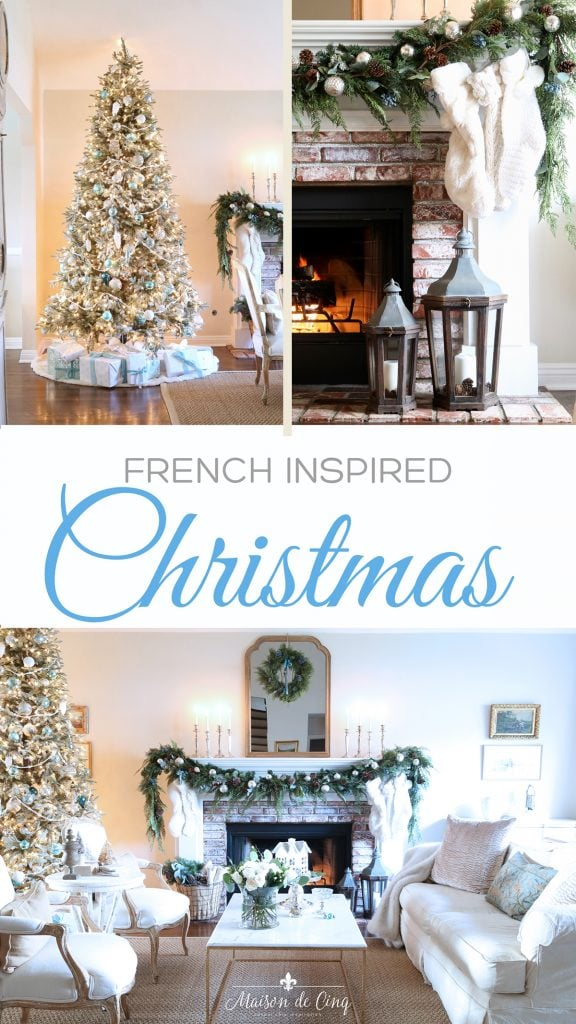 French blue Christmas decorating ideas graphic
